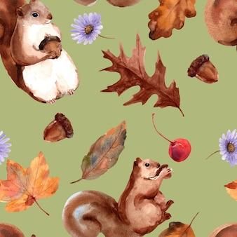 Modello senza cuciture autunnale con scoiattoli