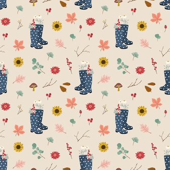 Autumnseamless pattern con stivali di gomma, foglie di autunno e fiori.