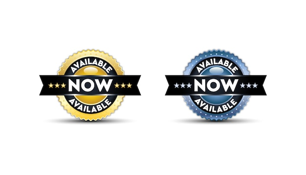 Disponibile ora modello di badge impostato. Vettore Premium