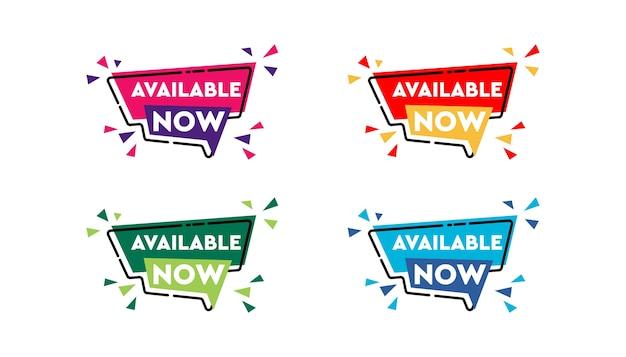 Disponibile ora adesivo set banner design template. Vettore Premium