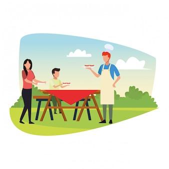 Famiglia di avatar in un tavolo da picnic