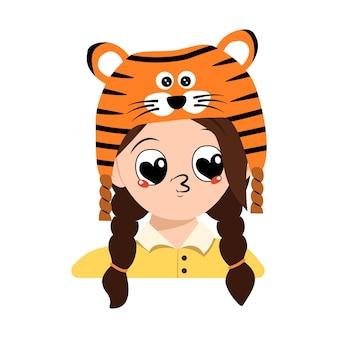 Avatar di ragazza con grandi occhi a cuore e labbra da bacio con cappello da tigre ragazzo carino con viso gioi...