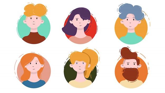 Set di icone avatar. ritratti maschii e femminili isolati su un cerchio nello stile piano lineare moderno. modello di social media userpic e profili.