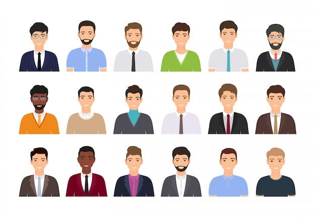 Personaggi maschili avatar, persone. icona di uomini d'affari.