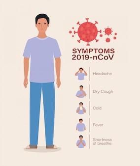 Avatar uomo con il design dei sintomi del virus ncov 2019
