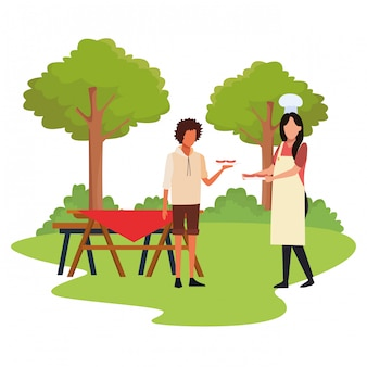 Uomo e donna dell'avatar in un tempo di picnic