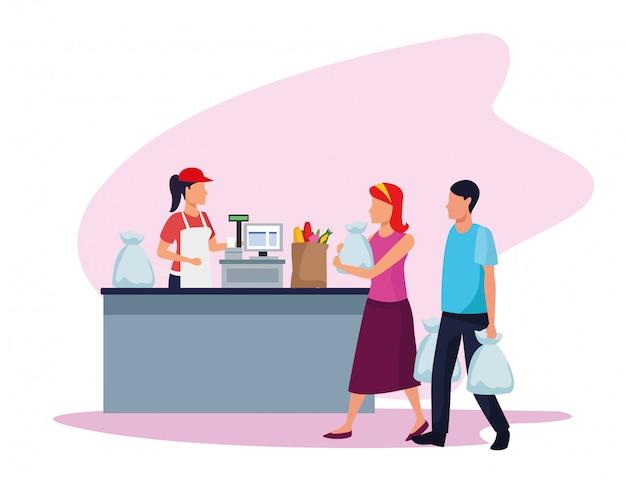 Lavoratore del supermercato dell'avatar al registratore di cassa con i clienti con le borse