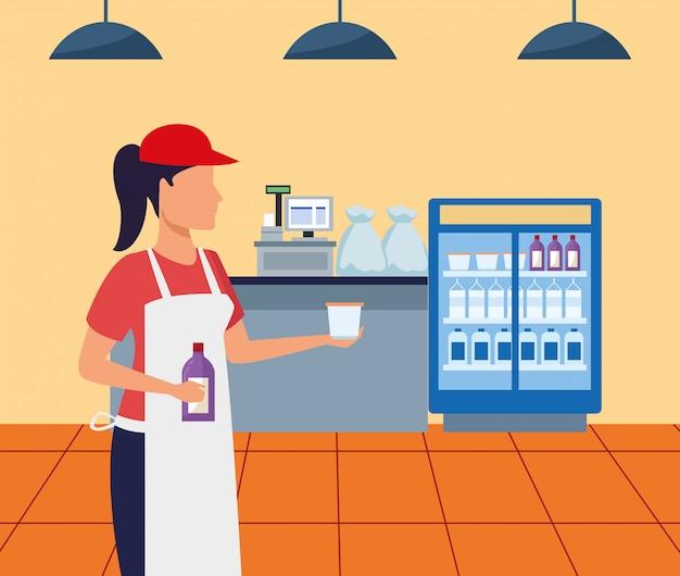 Lavoratore del supermercato dell'avatar che dà un campione della tazza, progettazione variopinta