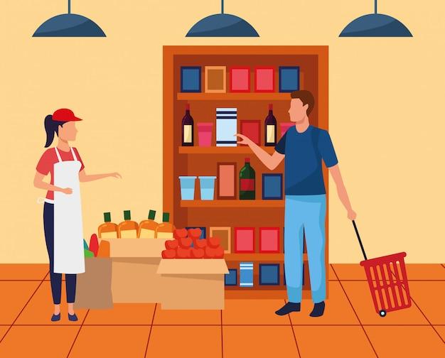 Lavoratore del supermercato dell'avatar che aiuta un cliente alla navata laterale del supermercato