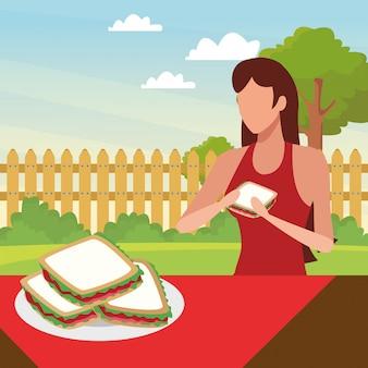 Donna avatar mangiare panini