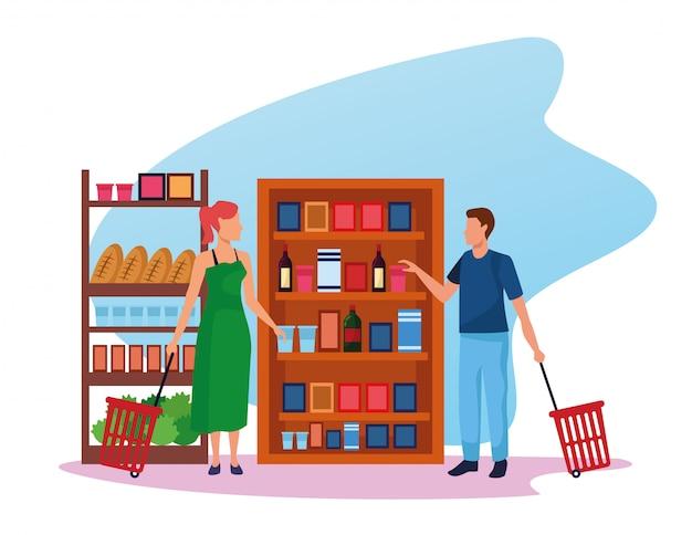 Avatar donna e uomo al supermercato si trova con generi alimentari