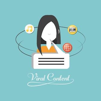 Avatar donna con icona relativa contenuto virale