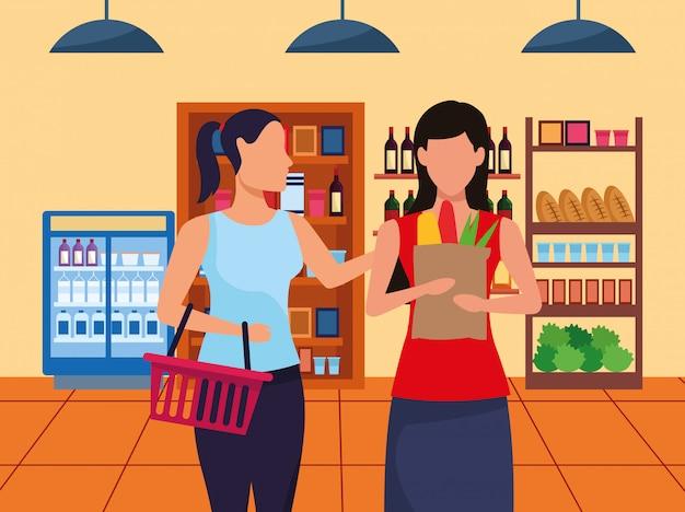 Avatar donne al corridoio del supermercato con stand con generi alimentari