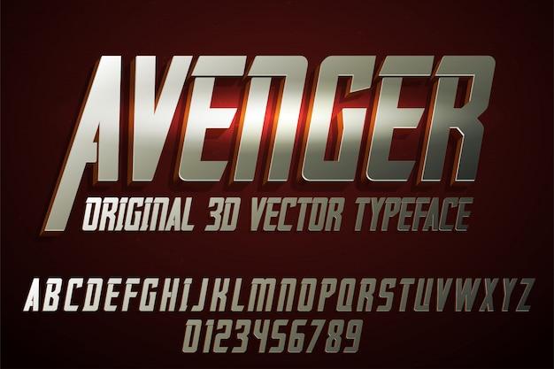 Carattere tipografico etichetta vendicatore