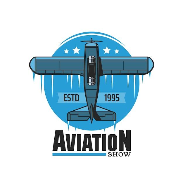 Icona di vettore dello spettacolo aereo dell'aviazione con aereo d'epoca