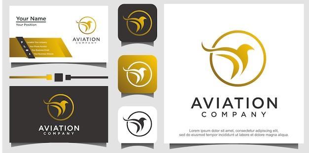 Modello di logo dell'aviazione o dell'aeroplano con l'aquila