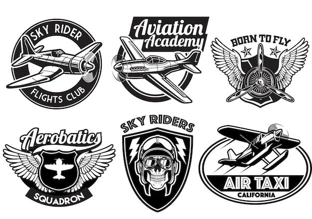 Insieme di disegno del distintivo di aviazione