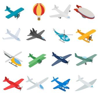 Icone di aviazione in stile 3d isometrico. gli aerei hanno messo l'illustrazione di vettore isolata