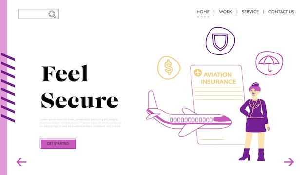 Modello di pagina di destinazione dell'assicurazione aerea