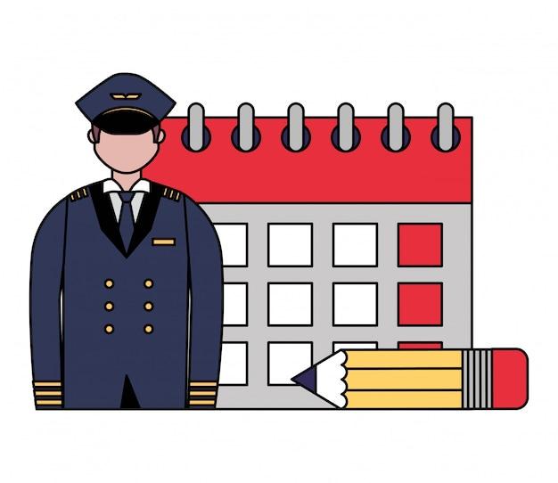 Giornata del lavoro del calendario pilota dell'aviazione