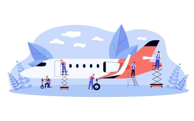 Squadra di servizio di aviazione che lavora sull'aereo. uomini in tuta che fanno lavori di riparazione e meccanico con l'aereo. illustrazione per hangar, concetto di manutenzione degli aeromobili