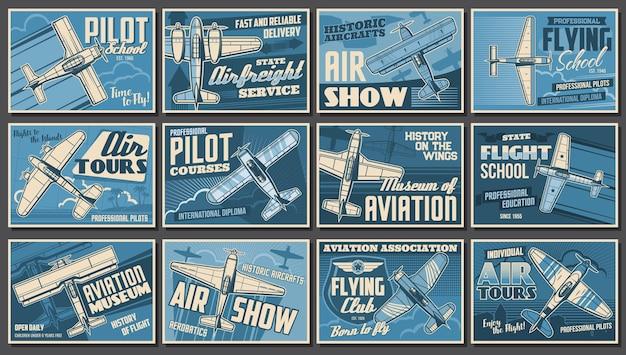 Spettacolo di aviazione, aeroplani e manifesti di club di aviatori