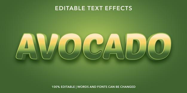 Effetto di testo modificabile in stile avocado 3d