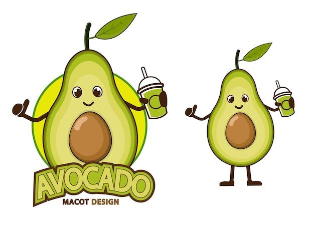 Illustrazione di disegno della mascotte del fumetto dell'avocado
