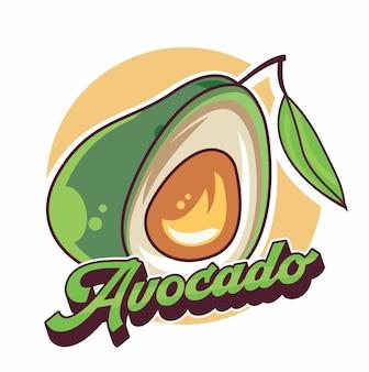 Disegno dell'icona simbolo del fumetto dell'avocado bella illustrazione isolata