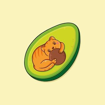 Illustrazione sveglia di kawaii del gatto dell'avocado