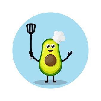 Personaggio mascotte chef avocado