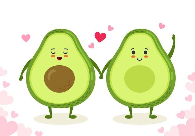 Le coppie dell'avocado si tengono per mano fumetto divertente disegnato a mano