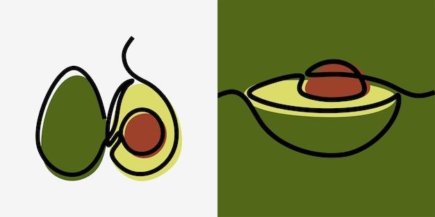 Insieme di vettore premium di arte di linea continua di una linea di frutta di avocado