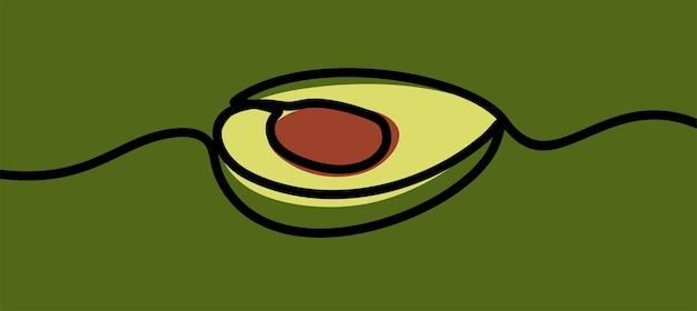 Vettore premium di una linea continua di una linea continua di frutta di avocado