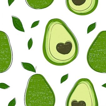 Modello senza cuciture di bellezza di stile di disegno della mano dell'avocado. modello senza cuciture di colore dell'illustrazione. avocado, linea astratta, concetto tropicale di friut