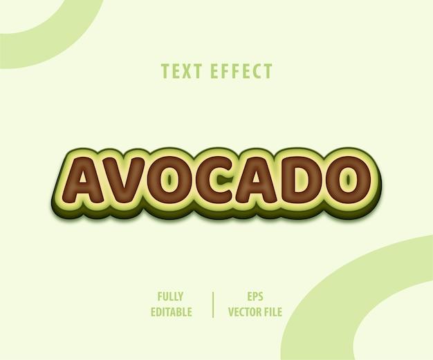 Effetto di stile di testo di illustratore di avocado