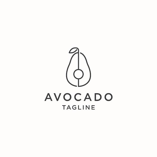 Modello di disegno dell'icona del logo dell'avocado minimalista semplice e moderno piatto vector