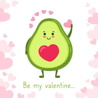 Amore dell'avocado cartolina d'auguri felice di san valentino personaggio dei cartoni animati divertente disegnato a mano, sorridente sveglio dell'avocado di kawaii verde