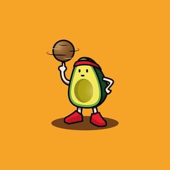 Mascotte di avocado che gioca a basket playing