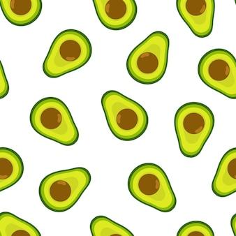 Modello senza cuciture di avocado sfondo sano estivo stampa di ingredienti per alimenti biologici in stile cartone animato Vettore Premium