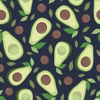 Modello senza cuciture di avocado con foglie. sfondo blu navy