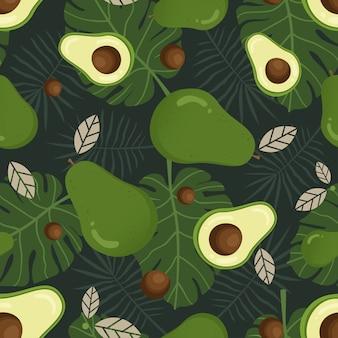 Modello senza cuciture avocado con foglie tropicali