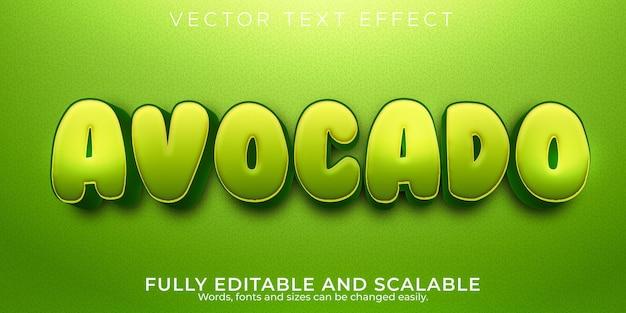 Effetto testo avocado, stile di testo modificabile naturale e fresco