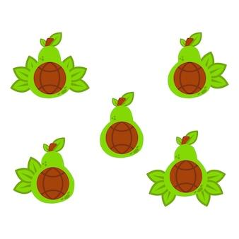 L'avocado con l'illustrazione del globo rappresenta il concetto di design alimentare globale sano