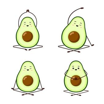 Yoga dell'avocado. set di simpatici personaggi di avocado su sfondo bianco. yoga per donne in gravidanza. esercizi mattutini per bambini. illustrazione divertente per biglietti d'auguri, adesivi, tessuto, siti web e stampe.