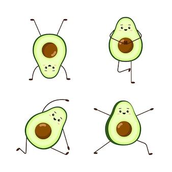 Yoga dell'avocado. set di simpatici personaggi di avocado su sfondo bianco.