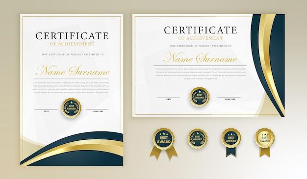 Modello di diploma certificato premio impostato con distintivi