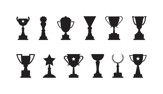 Tazze premio vettore set trofeo icone nere campione sportivo premio vincitore illustrazione