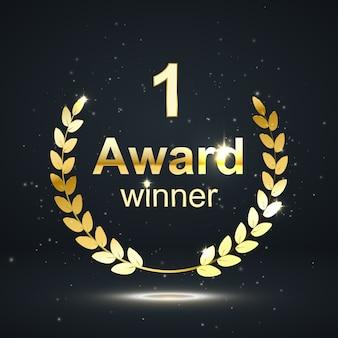 Premio elemento isolamento su sfondo darck. nomina del vincitore. illustrazione.