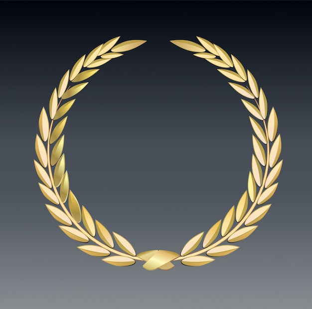 Premio alloro isolato su uno sfondo trasparente. modello del vincitore. simbolo di vittoria e successo.